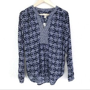 LOFT Blue White Ikat Print V-Neck Long Sleeve Top